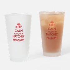 Keep calm you live in Natchez Missi Drinking Glass