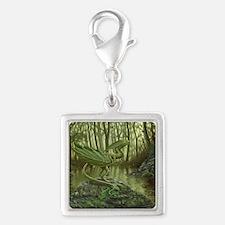 Forest Leaf Dragon Silver Square Charm