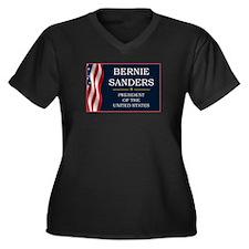 Bernie Sande Women's Plus Size V-Neck Dark T-Shirt