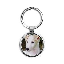 Blonde Borzoi Puppy Round Keychain