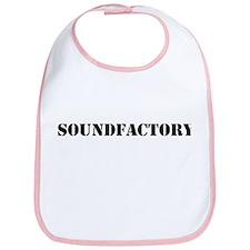 Sound Factory (SF) in black lettering Bib