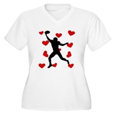 Wide Receiver Hearts Plus Size T-Shirt