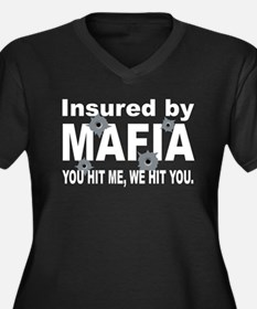 Insured by Mafia Women's Plus Size V-Neck Dark T-S