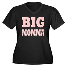 BIG MOMMA: Women's Plus Size V-Neck Dark T-Shirt