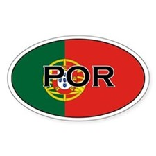Portuguese flag with text Oval Decal