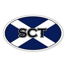 Scottish flag with text Oval Bumper Stickers