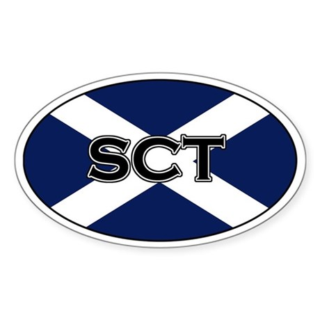 Scottish flag with text Oval Sticker