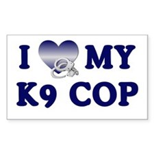 Love My K9 Cop Rectangle Decal
