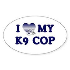 Love My K9 Cop Oval Decal