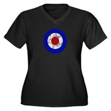 Sixties Mod Emblem Women's Plus Size V-Neck Dark T
