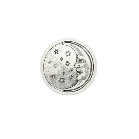 Moon With Stars Circle Mini Button (10 pack)