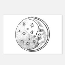 Moon With Stars Circle Postcards (Package of 8)