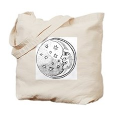 Moon With Stars Circle Tote Bag