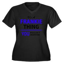 Unique Frankie Women's Plus Size V-Neck Dark T-Shirt