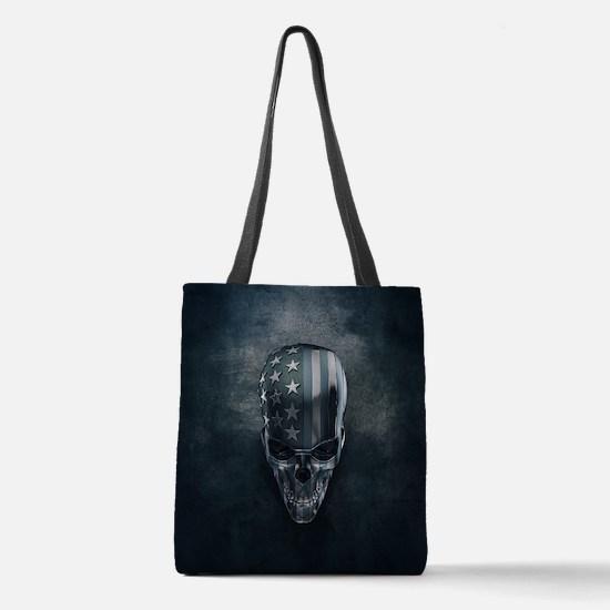 American Flag Skull Polyester Tote Bag