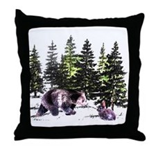 Bear and Bunny in the Woods  Throw Pillow