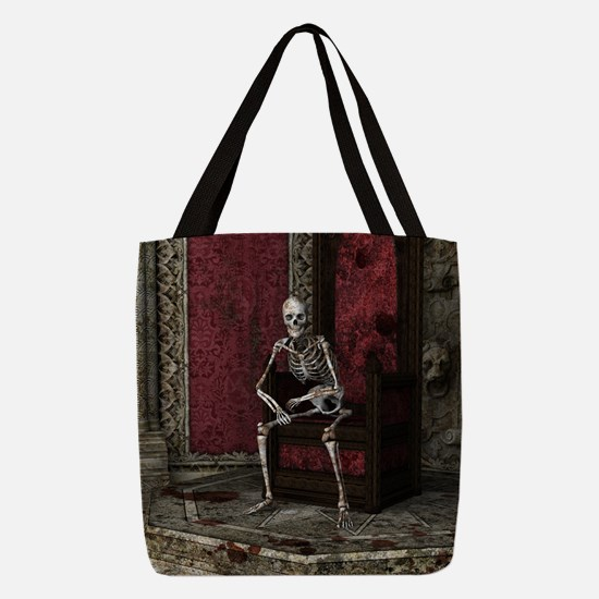 Gothic Waiting Skeleton Polyester Tote Bag