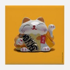 Fortune Cats Yellow Tile Coaster