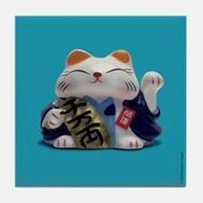 Fortune Cat Turquoise Tile Coaster