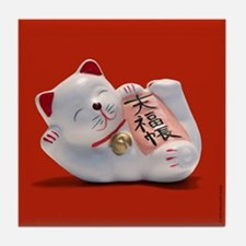 Fortune Cat Red -Tile Coaster