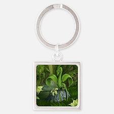 Lily flower Leaf dragon Square Keychain
