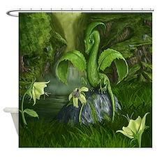 Lilly Flower Leaf Dragon Shower Curtain