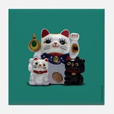 Fortune Cats Green Tile Coaster
