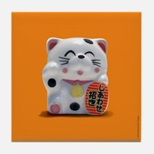 Fortune Cat Orange Tile Coaster