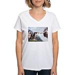 Creation / 2 Dobies Women's V-Neck T-Shirt