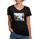 Creation / 2 Dobies Women's V-Neck Dark T-Shirt