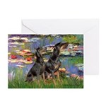 Lilies2 / 2 Dobies Greeting Cards (Pk of 10)