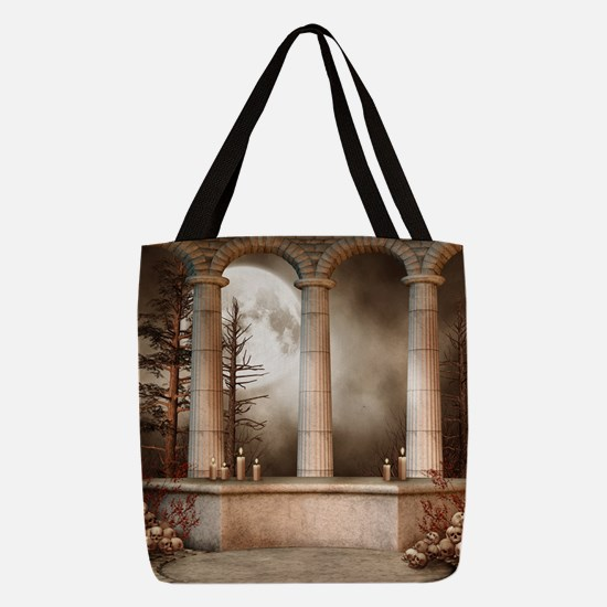 Gothic Marble Columns Polyester Tote Bag