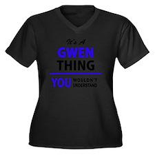 Cute Gwen Women's Plus Size V-Neck Dark T-Shirt