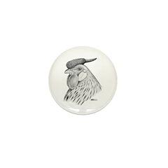 Hamburg Rose Comb Mini Button (10 pack)