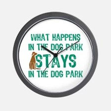 Stays In The Dog Park Wall Clock