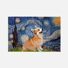 Starry Night Corgi Rectangle Magnet