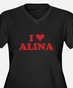 I LOVE ALINA Women's Plus Size V-Neck Dark T-Shirt