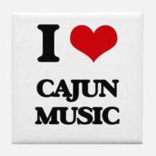 I Love CAJUN MUSIC Tile Coaster
