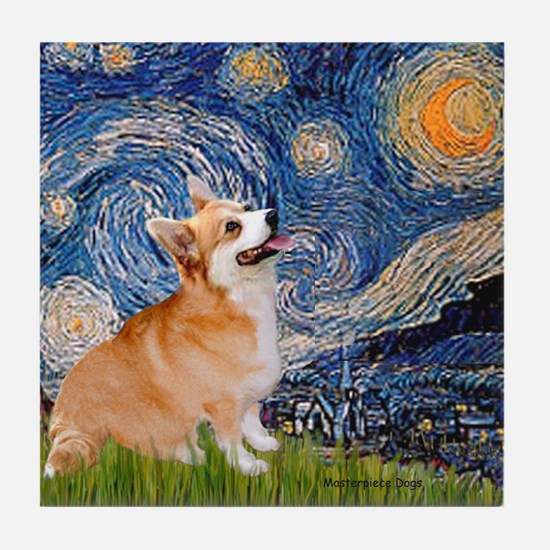 Starry Night Corgi Tile Coaster