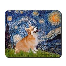 Starry Night Corgi Mousepad