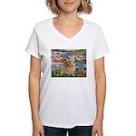 Lilies (2) & Corgi Women's V-Neck T-Shirt
