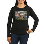 Lilies (2) & Corgi Women's Long Sleeve Dark T-Shir