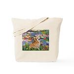 Lilies (2) & Corgi Tote Bag