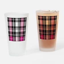 pink & black plaid Drinking Glass