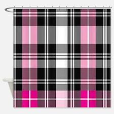 pink & black plaid Shower Curtain