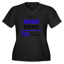 Funny Hugo Women's Plus Size V-Neck Dark T-Shirt