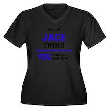 Cute Jace Women's Plus Size V-Neck Dark T-Shirt