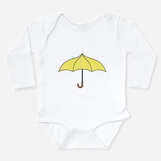 Yellow Umbrella Long Sleeve Infant Bodysuit