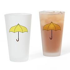 Yellow Umbrella Drinking Glass