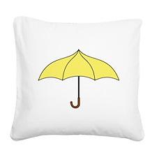 Yellow Umbrella Square Canvas Pillow